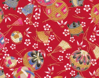 Fabric pattern: temari balls red Japanese 50 x 55 cm