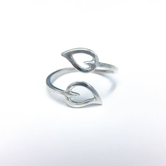 Adjustable Leaf Ring // Adjustable Ring // Leaf Ring // Silver Leaf Ring // Silver Ring // Nature Ring // Minimalist Ring