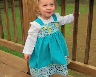 Teal and Paisley Soft Corduroy dress, fall dress, baby girl dress, toddler dress, boutique dress, pageant dress