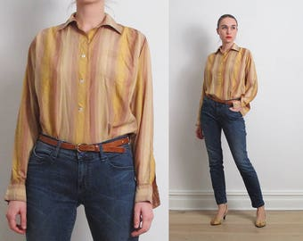 50s Golden Desert Stripes Silk Shirt / S-M