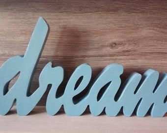 Dream, chipboard, letters, blue
