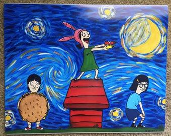 Bob's Burger Poster Print / Tina Belcher Painting / Louise Belcher Painting / medium poster / Gene Belcher Painting / Snoopy House