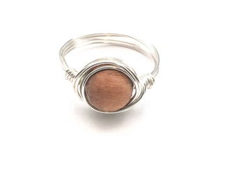 Rosewood Diffuser Ring, Essential Oil Diffuser Jewelry, Wire Wrapped Ring, Lava Stone Ring, Oil Jewelry