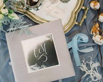 Velvet Silver Wedding Mirror Guest Book custom FREE SHIPPING