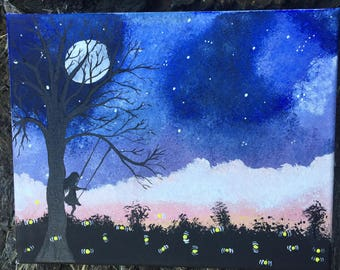 Girl on a swing with fireflies