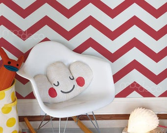 Red Zig zag geometric chevron seamless wall Pattern panel wallpaper decal for nursery bedroom decor