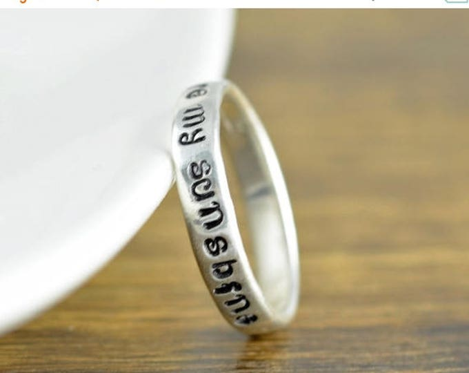 10% off SALE Sterling Silver Ring, You Are My Sunshine, Hand Stamped Ring, Personalized Ring, Personalized Jewelry, You Are My Sunshine Jewe