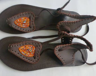 African Maasai Beaded Sandals|Brown Color Beaded Sandals | Elagant | Leather Sandals | Summer Sandles | Gift For Her