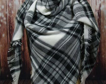 WINTER MARKDOWN Black and White Blanket Scarf, Tartan Scarf, Plaid Scarf, Zara Scarf, Oversized Scarf, Shawl, Wrap