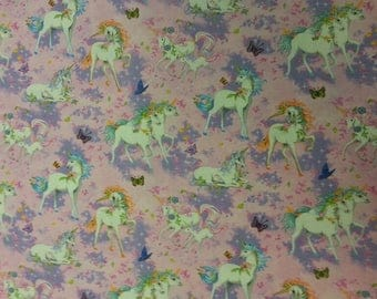 Unicorn Fabric 100% Cotton Material By Metre Magical Animal Horn Curtains Patchwork Cushions Bags Bunting