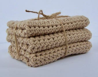 Cotton Washcloth / Crocheted Washcloth / Eco-friendly Washcloth / Dishcloths / Farmhouse Dishcloth / Tan Washcloth / Brown Washcloth