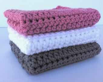 Natural Cotton Washcloth / Crochet Dishcloth / Farmhouse Washcloth / Handmade Dishcloth / Exfoliating Washcloth / Pink White and Gray Cloth