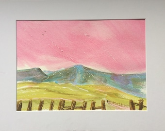 Brecon Beacons Pink original Water Colour - Size A3