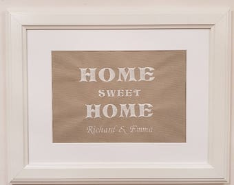 Personalised Embroidered Home Sweet Home Picture