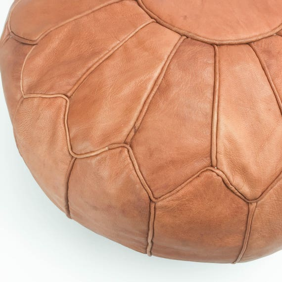 Round Leather Moroccan Pouf - Piping on Seams - Medium Brown