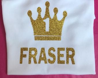 Baby boys or girls personalised birthday name age top t-shirt bodysuit vest cakesmash 1 2 3 4 tiara crown