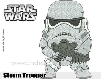Star Wars - Storm Trooper - Embroidery Design in 4 sizes: - 4in, 5in, 6in & 7in - instant download.