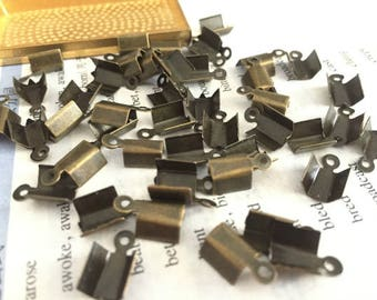 wholesale 100 Pieces /Lot Antique Bronze Plated 12mmx7mm cord end crimp