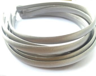 10pieces gray satin plastic hair headband covered 10mm wide