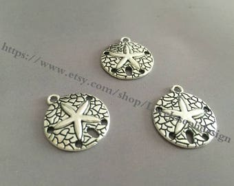wholesale 100 Pieces /Lot Antique Silver Plated 20mm starfish charms (#093)
