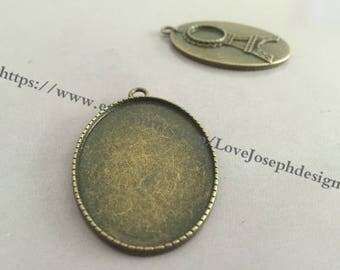 10 Pieces /Lot Antique Bronze Plated 30mmx40mm oval cabochon back 12mm Eiffel Tower cabochon trays charms (#0220)