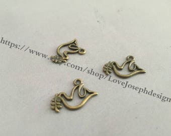 wholesale 40 Pieces /Lot Antique Bornze Plated 9mmx19mm birds charms (#0367)