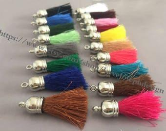 wholesale 100pieces (more than 20colors) 45mm string cotton silver plastic caps ear tassel (#0472)