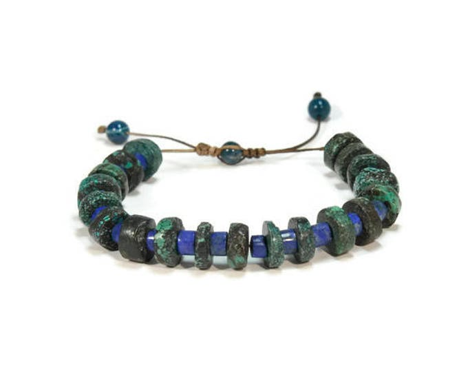 Urban Men's Turquoise African & Lapis Lazouli Pull Tie Single Bracelet.  Boho Jewelry. Bohemian Jewelry. Ideas for him. Gift for him.