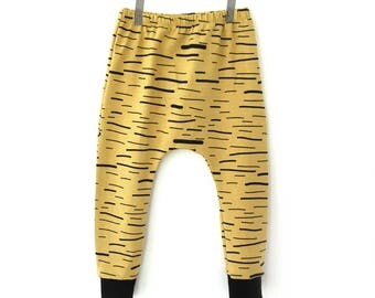 Mustard baby and toddler organic harem pants - Tiger baby harem - Organic baby clothes -
