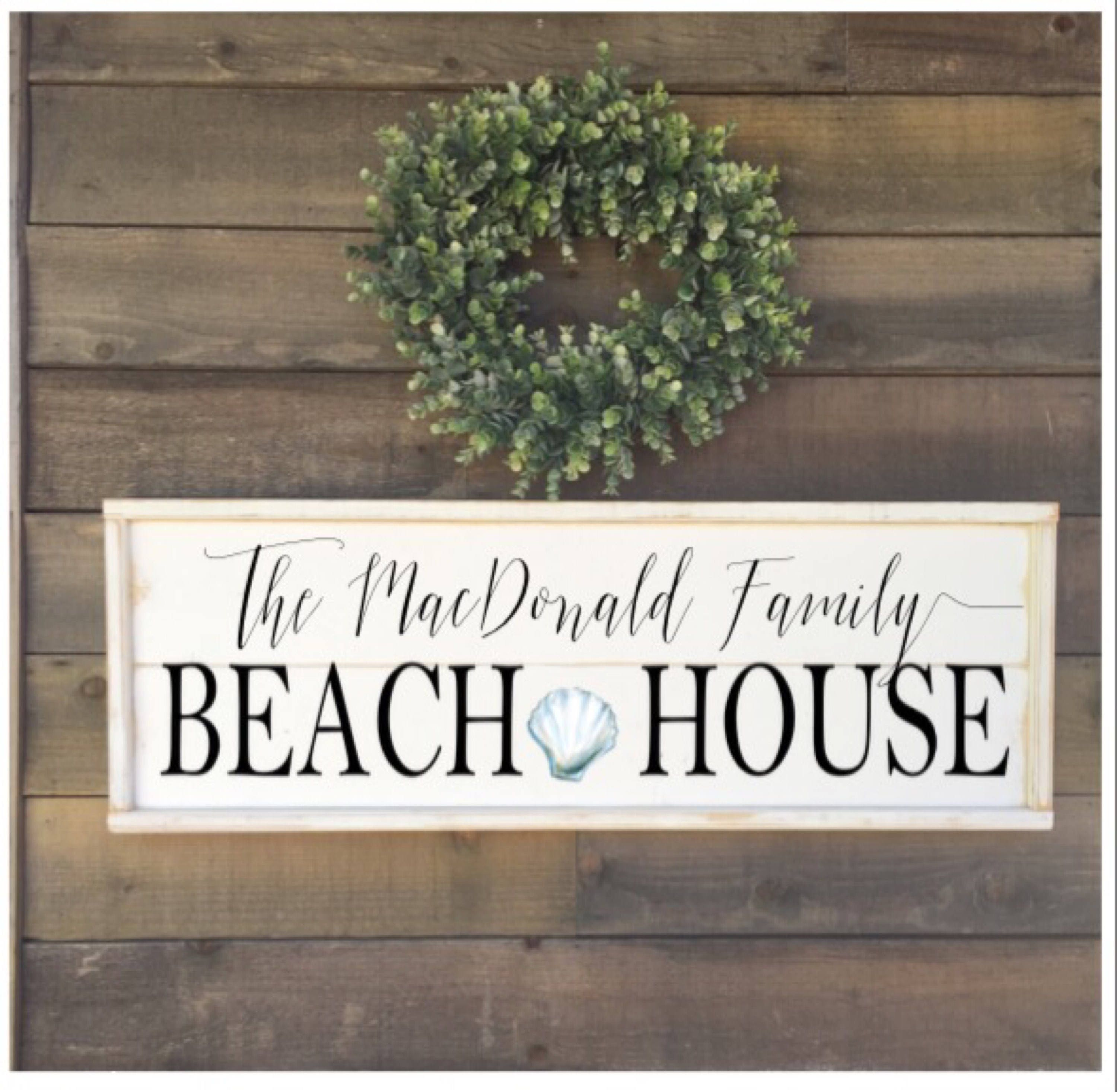 Personalized Beach House Plaques: Custom Beach House Sign Framed Shiplap Vintage Home Decor