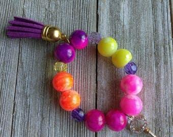 Beaded bracelets, gumball bracelet, rhinestone key bracelet, kids bracelets,  bracelets, custom bracelet, custom jewelry, baby bracelet