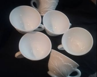 Milk Glass Pebble Leaf Pattern Punch Cups Indiana Glass Co 1960's