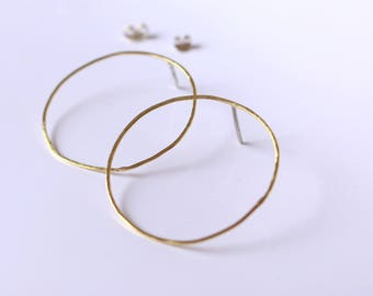 Hammered rings, earrings hoop earrings