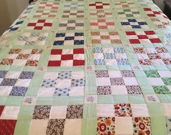 Vintage Handmade Quilt - Nine-Patch