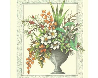 Lithograph for 3D painting 22 x 17 cm flower VASE