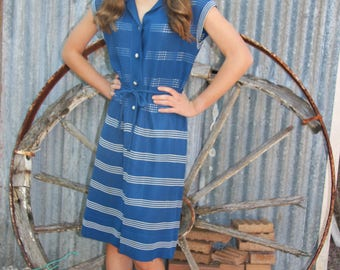 70's blue and white striped dress with some buttons and waist tie