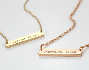 Christian Necklace Faith  Necklace Religious Verse baptism gift Pendant Necklace - Gold Silver Rose gold Custom Necklace
