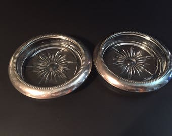 Set of Two Vintage Crystal Coasters with Sterling Silver Plated Rim