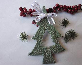 Pottery Ornament,  Tree, Christmas, Ceramic, Handmade