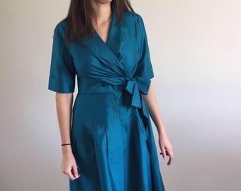 Vintage 90s Teal Silk Dupioni Front Wrap Dress | S/M 4-8
