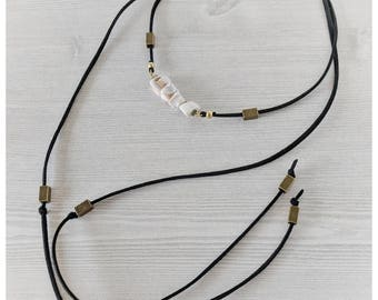Black and gold wrap necklace seashell beads vegan leather cruelty free jewelry gift for her black leather wrap necklace seashell necklace