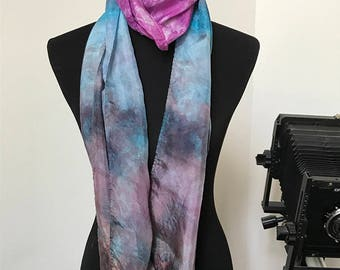 Prophetic - Silk Scarf - Gifts for Women - Dyed Silk - Christian Gifts - Narrow Infinity Silk Scarf called the Voice of the Lord