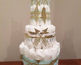 Feathers and Arrows Diaper Cake