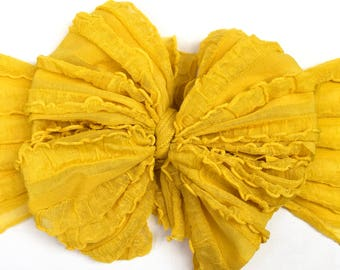 Canary ruffle messy bow, messy bow headband, ruffle bow, baby headband, messy bow head wrap, mini messy bow, messy head wrap, messy bow