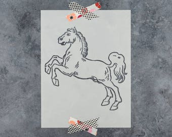 Horse Stencil - Reusable DIY Craft Stencil of Horse Jumping