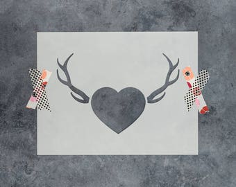 Antlers & Heart Stencil - Reusable DIY Craft Stencils of a Heart with Antlers
