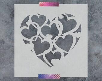 Pattern Heart Stencil - Reusable DIY Craft Stencils of a Pattern Heart