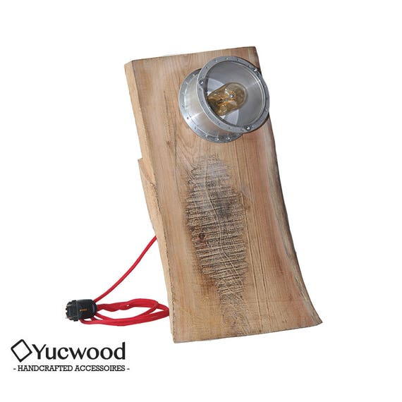 "Edison sideboard lamp, ""Industrial plate"", industrial lamp, recycled, wooden lamp, handmade"