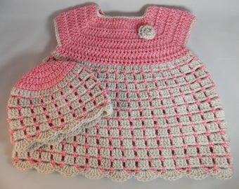 Crochet Baby Dress with Beanie