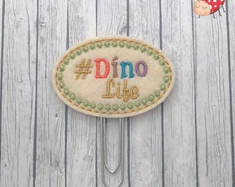 Dino life planner clip, office supplies, planner, organiser accessory, study, gift, paperclip, felt, paperwork,